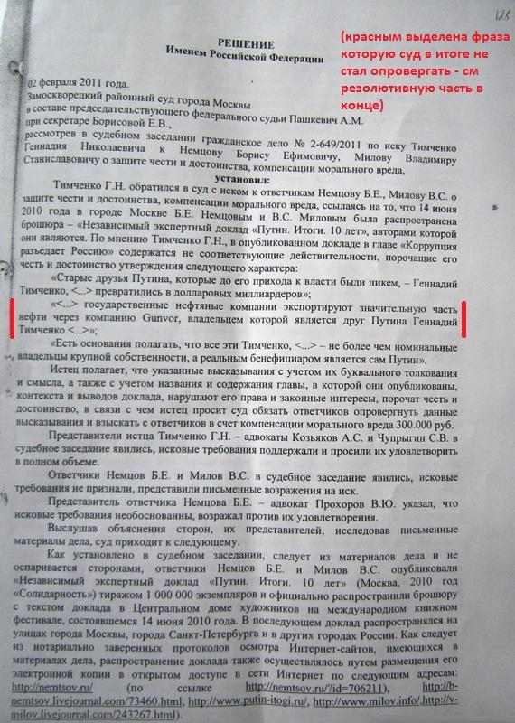 решение суда по иску Тимченко